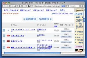 2008年5月27日付ORICON STYLEシングル デイリーランキングより